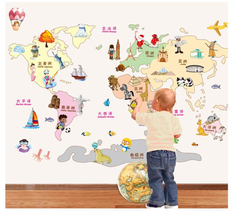 Cartoon world map wall sticker for kids room nursery for Wall map for kids room