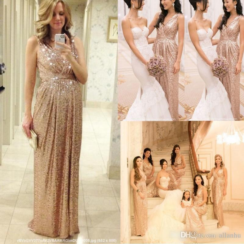 2016 Gold Sequins Plus Size Pregnant Bridesmaids Dresses Wedding ...