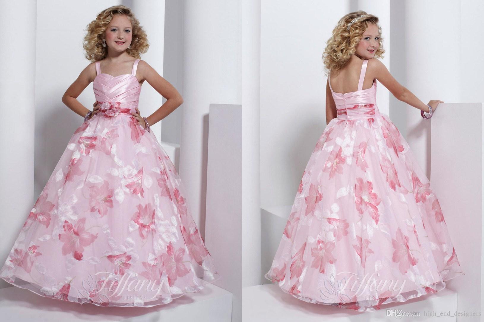 Wedding Toddler Flower Girl Dresses flower girls dresses spaghetti strap ball gown pattern light pink dress kid children big girl