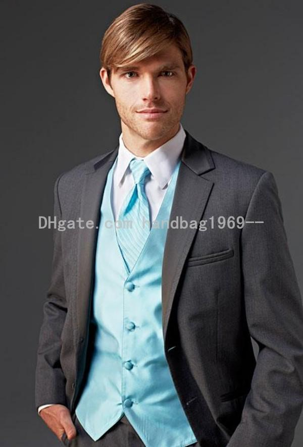 Custom Made Two Buttons Dark Grey Groom Tuxedos Notch Lapel Best