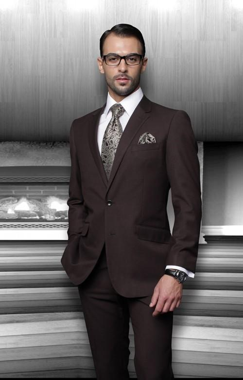 2015 Dark Brown Wedding Suits For Men Notched Lapel Groom Tuxedos