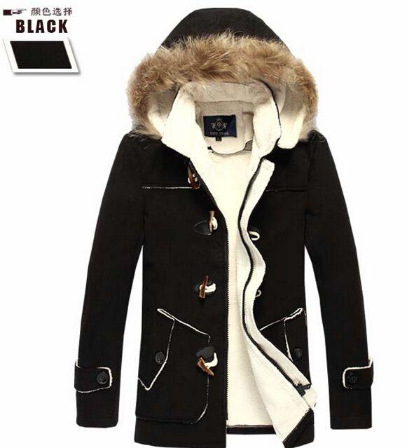 Best Fall Fashion Men Winter English Style Peacoat Casual Faux Fur
