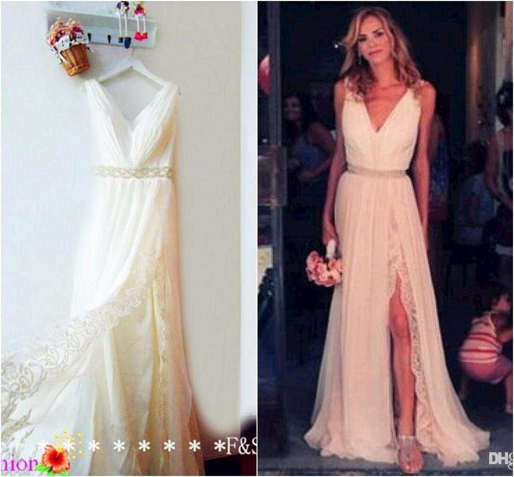 2015 spring bohemian wedding dress v neck a line split side sweep train beach wedding dresses open back bridal gowns chiffon lace bohemian wedding dress