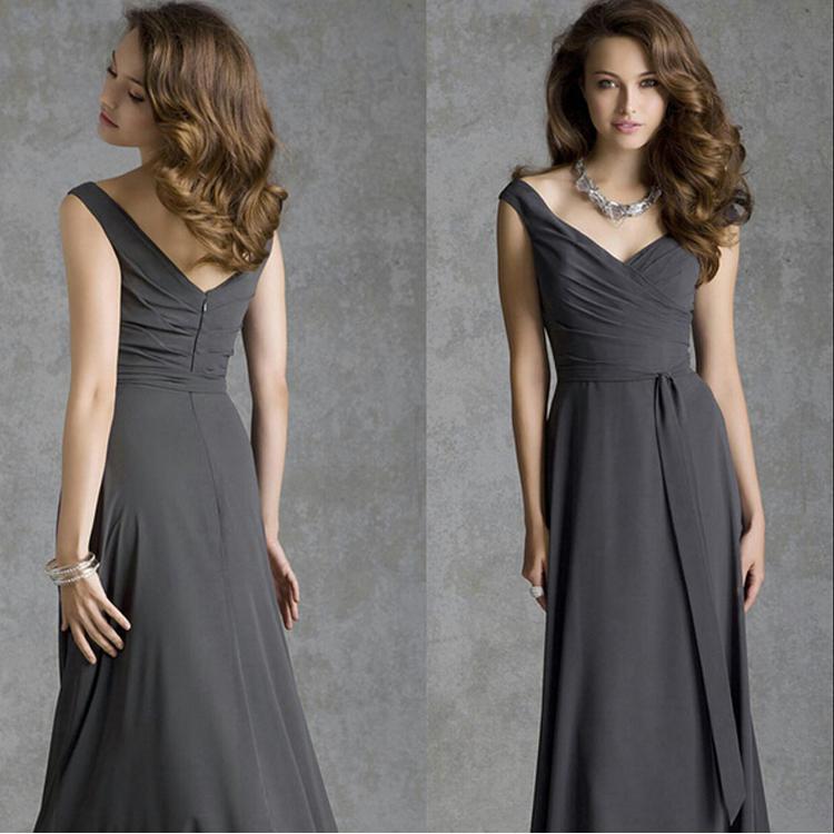 2015 cheap cap sleeve v neck bridesmaid dresses dark gray for Dark grey wedding dresses