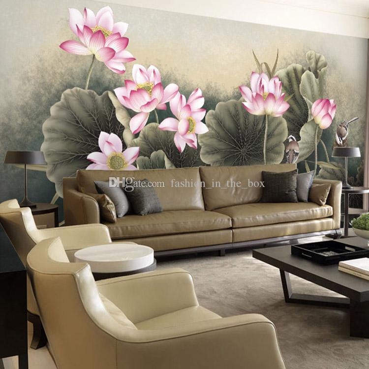 Lotus flower bird wallpaper beautiful 3d photo wallpaper for Bird wallpaper home decor