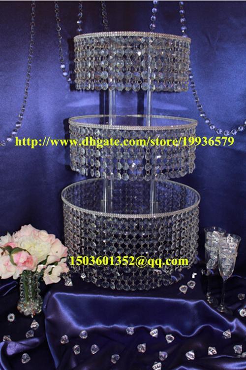 Acrylic Crystal Chandelier Wedding Round Cake Stand 3 Tier Dessert – Chandelier Wedding Centerpieces