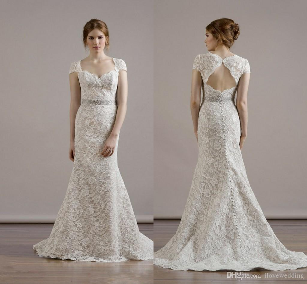 2015 Vintage Lace Mermaid Backless Wedding Dresses With