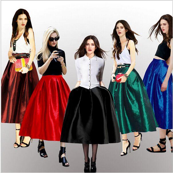 Online Cheap Plus Size Women Vintage Pleated Midi Skirt A Line ...