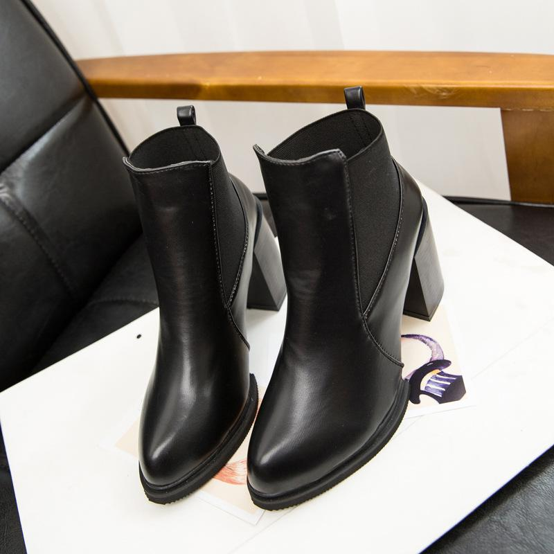 Black Leather Ankle Boots With Heel - Cr Boot