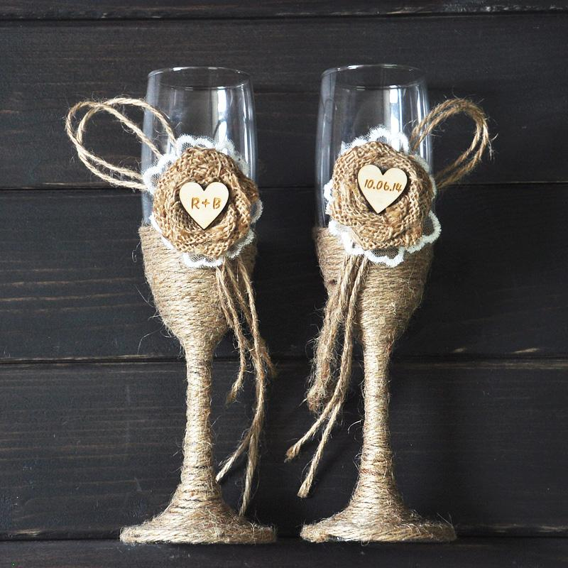 custom toasting wedding glasses country rustic chic wedding gifts