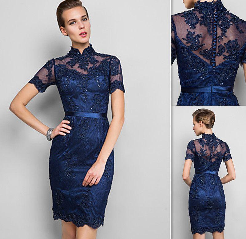 Vintage Cocktail Dresses Navy Blue Lace High Neck