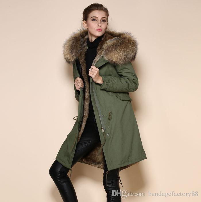 Green Fur Hooded Parka Coat Womens - JacketIn