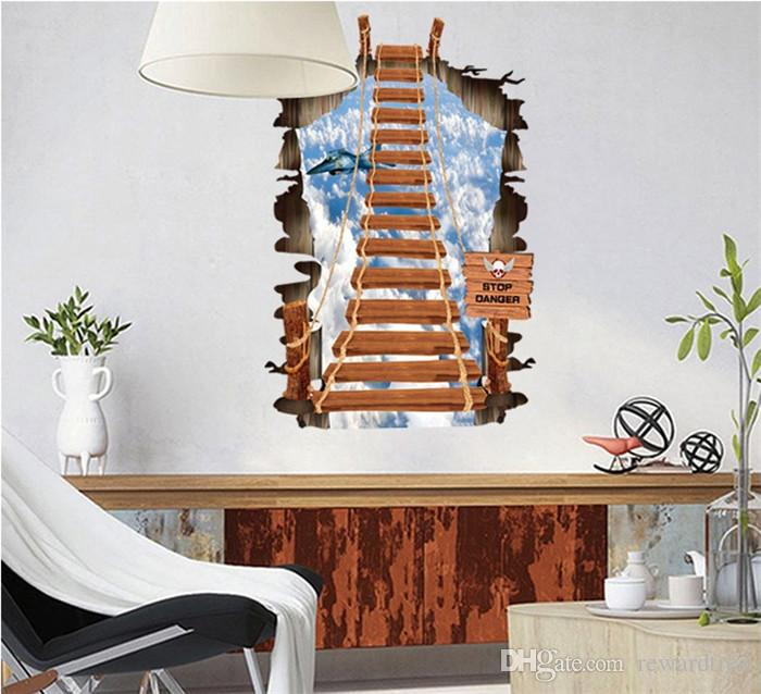 3d walls drawbridge wall stickers creeper decorative wall for Sticker mural 3d