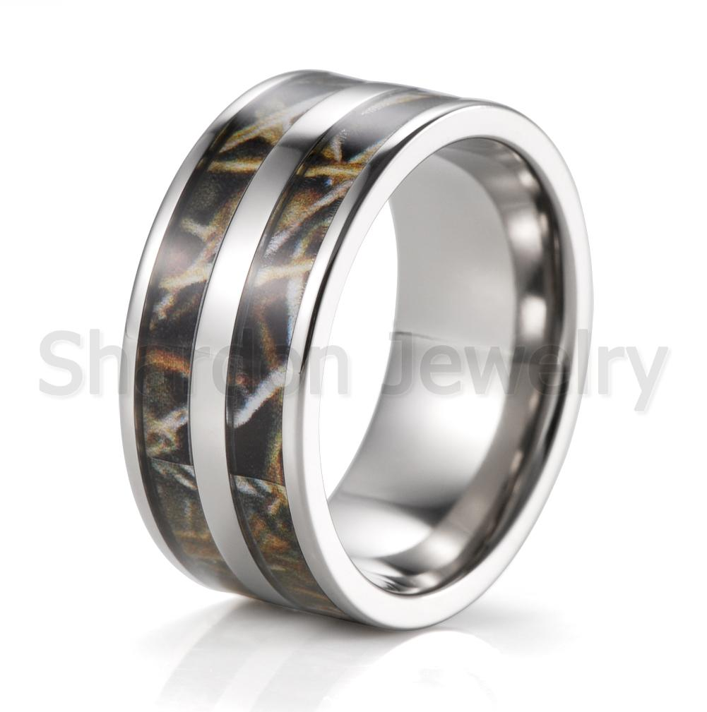 wholesale mens 10mm titanium double realtree max 4 camo engagement ring camofluge wedding band outdoor - Mens Camo Wedding Rings