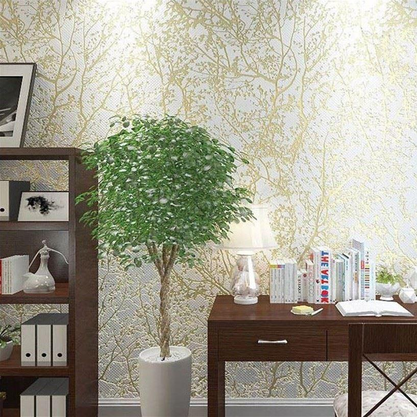 Modern Home Decorative Tree Design Wall Paper Gold Texture Wallpaper  Embossed For Living Room Tv Sofa