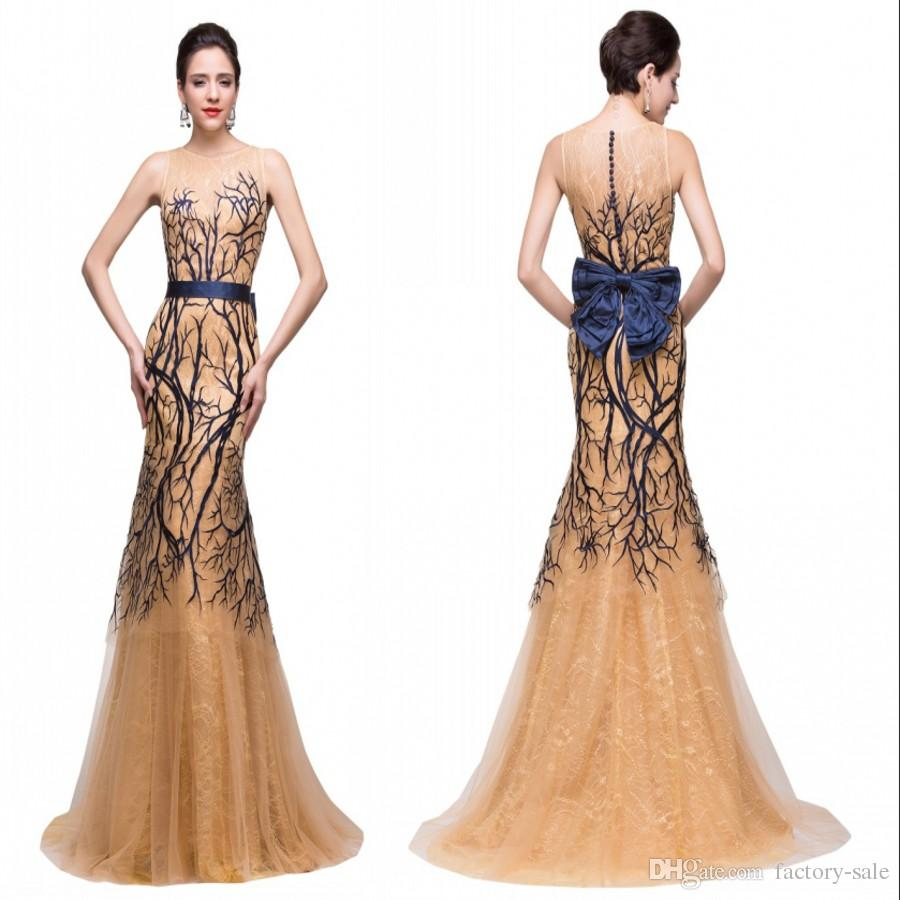 Wedding Formal Evening Dresses 2016 unique new design formal evening dresses mermaid tulle button covered back with big bow sash long prom celebrity party gown
