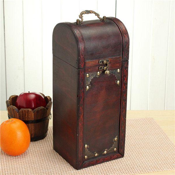 Retro Style Wooden Wine Box Single Bottle Vintage Case Classic ...