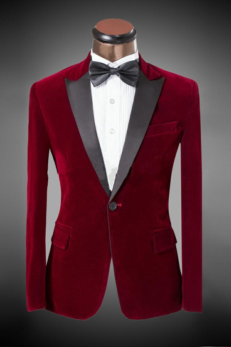 Custom Made Newest Groom Tuxedos Peak Lapel Men'S Suit Velvet
