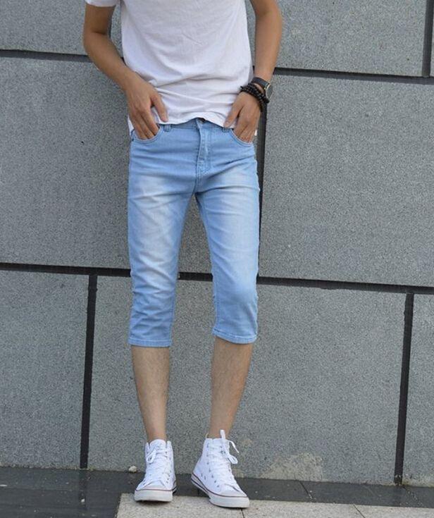 Summer Men Short Jeans Wear Thin Bull-puncher Knickers Overalls ...