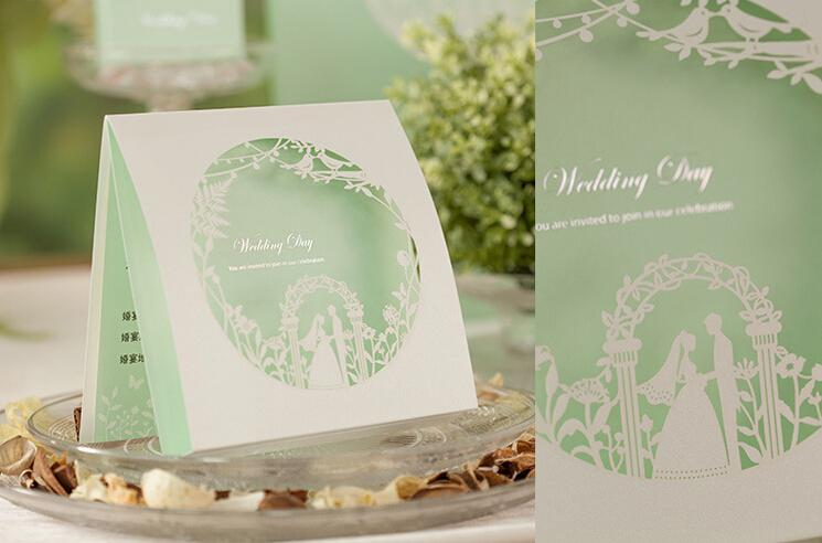 elegant mint green wedding invitations laser cut 2015 new personalized customized design blank inner sheet bouquet free shipping