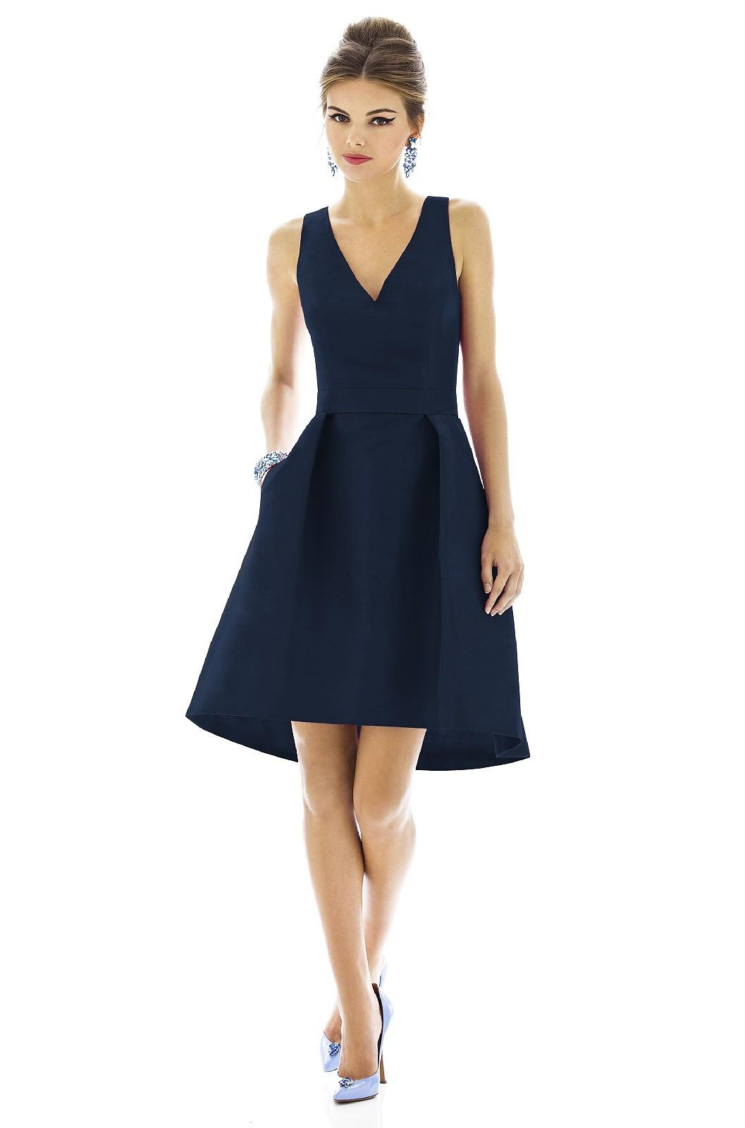 2015 Simple Navy Blue Bridesmaid Dresses A Line V Neck Zipper Knee ...