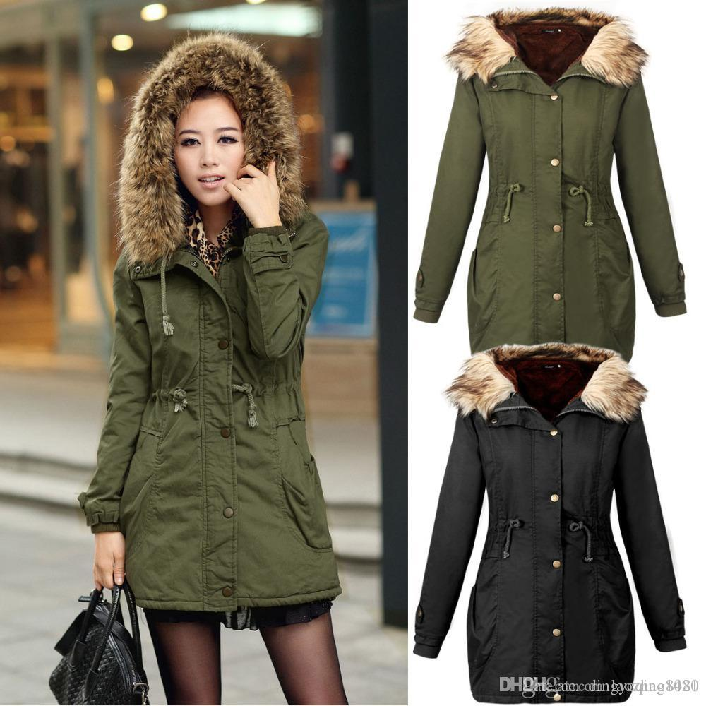 2017 2015 New Women Fleece Parka Winter Coat Army Green Fur Hooded ...