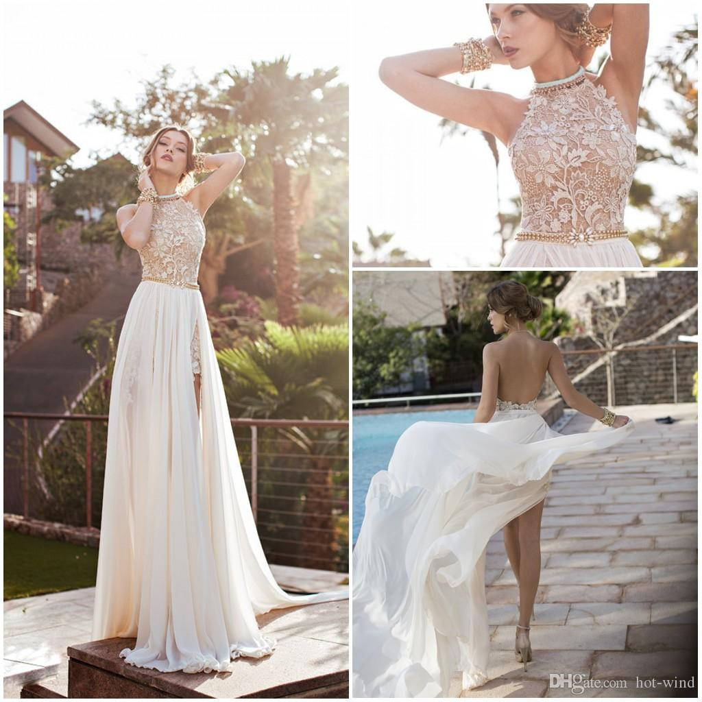 Cheapest hot chiffon lace prom dresses 2016 halter for Short beach style wedding dresses