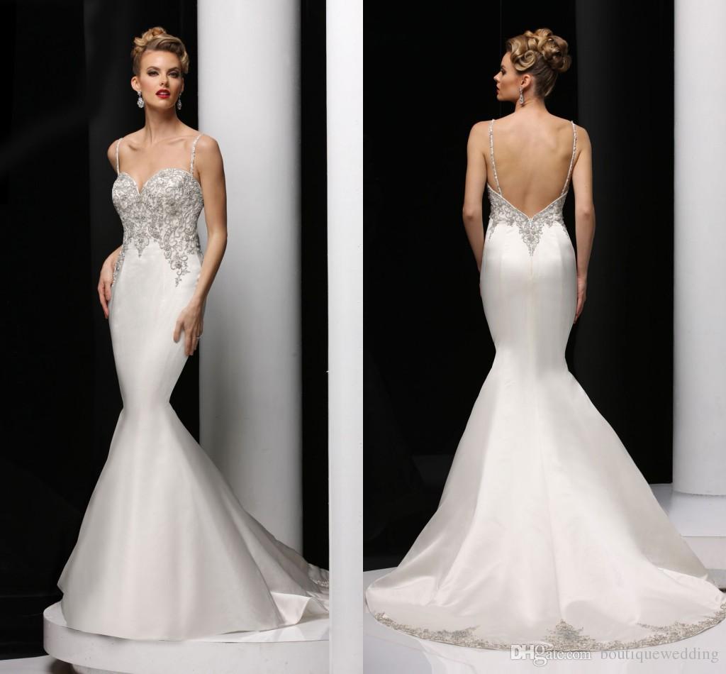 2015 Luxury Beaded Mermaid Wedding Dresses Spaghetti