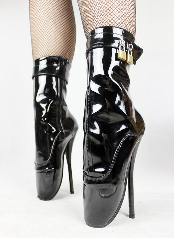 BDSM Hot Sale Extreme High Heel 7 Spike Black Shiny High Heel ...