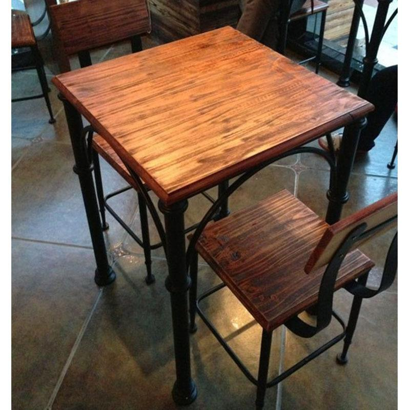 2018 c iron cafe restaurant dinette combination of solid wood dining tables and chairs household - Hotel dining tables ...