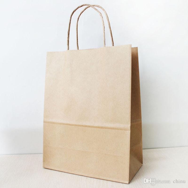 27*21*11cm Brown Paper Shopping Bag With Handle,130gsm Kraft Paper ...