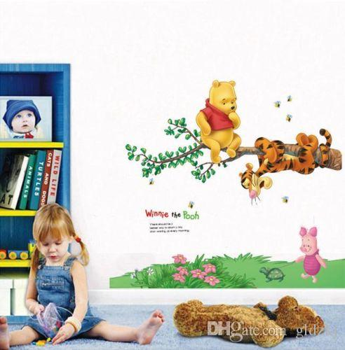 Winnie the pooh bear friends wall sticker decor kids for Baby pooh and friends wall mural