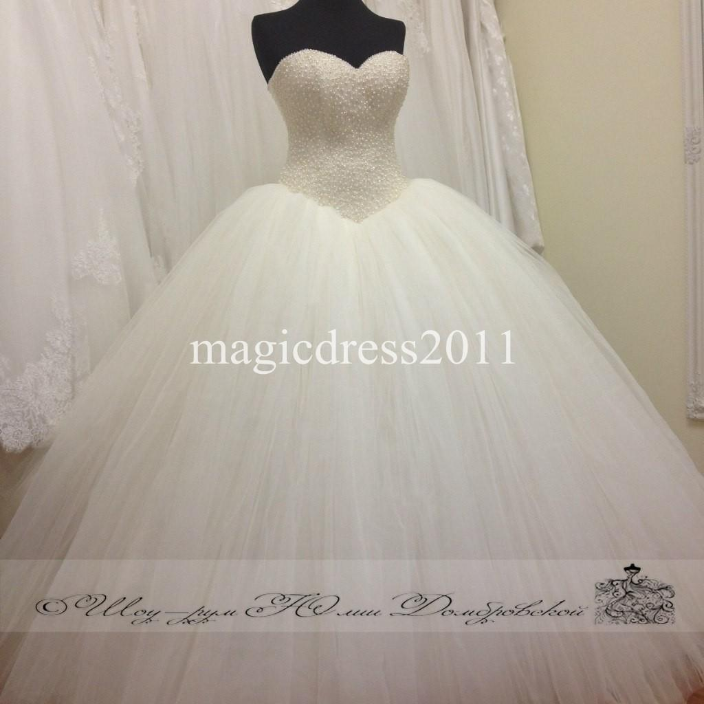 2015 Princess Puffy Wedding Dresses Ball Gown Sweetheart Full Pearls Lace Up Back Luxury Bridal