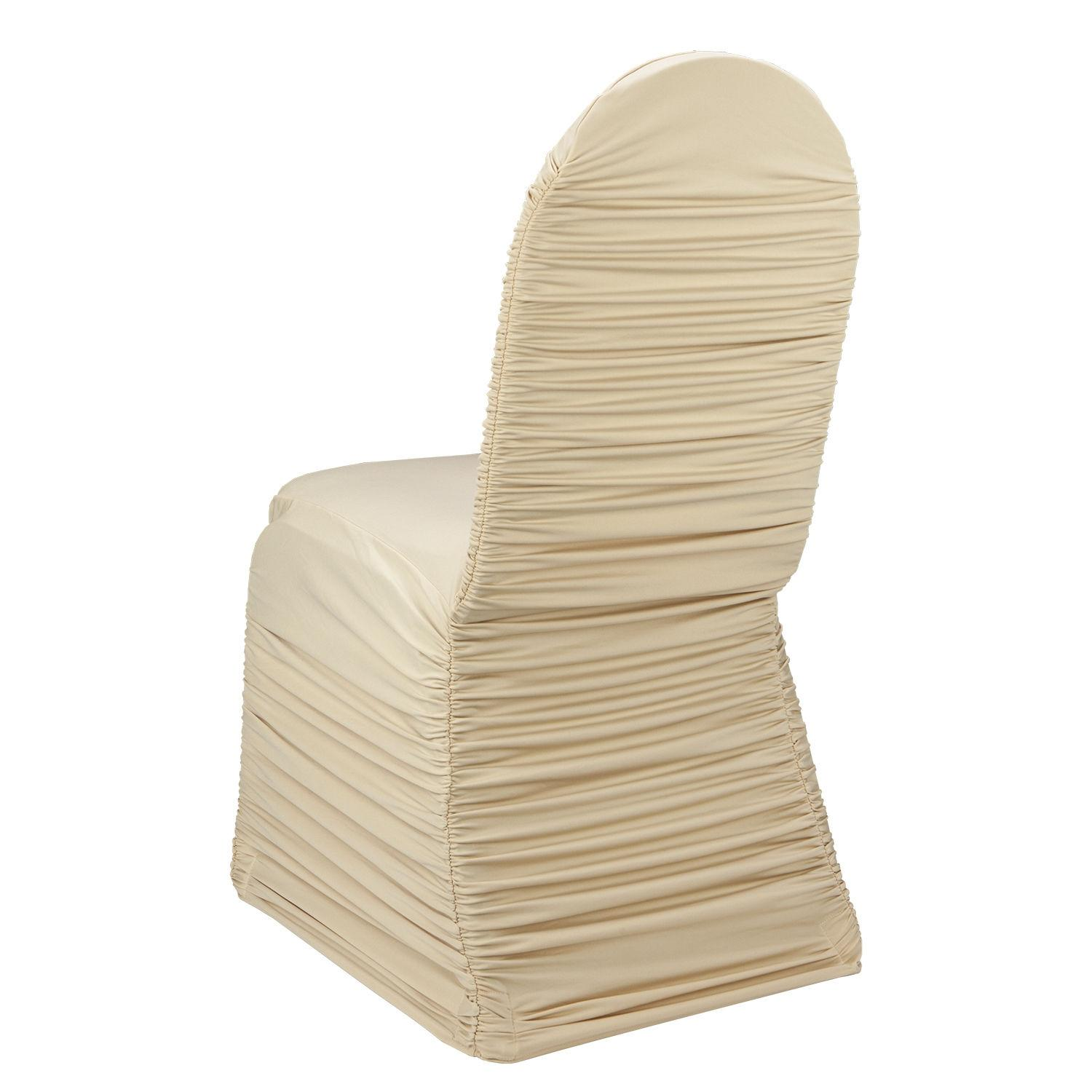 Wholesale Ivory Ruched Lycra Chair Cover For Wedding Party Banquet Slipcovers