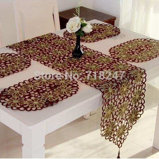 Hot Elegant Red Christmas Embroidery Table Runner Toalha de Mesa Coffee  Embroidered Full Cutwork Table Cloth - Hot Elegant Red Christmas Embroidery Table Runner Toalha De Mesa