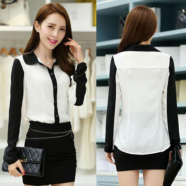 Fashion Women Chiffon Shirts Korean Black White Patchwork Peper ...
