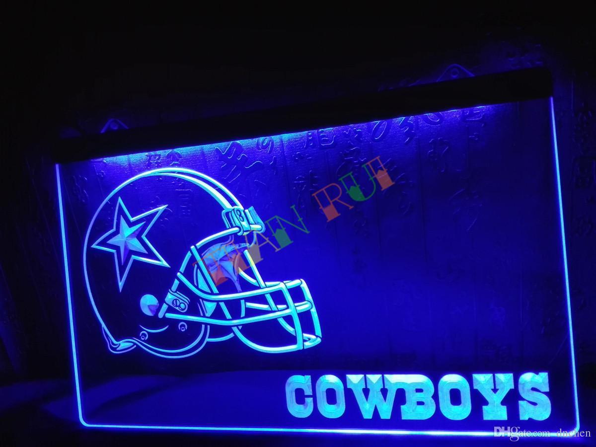 Ld317 B Dallas Cowboys Helmet Nr Bar Neon Light Sign Home Decor Shop Crafts Led
