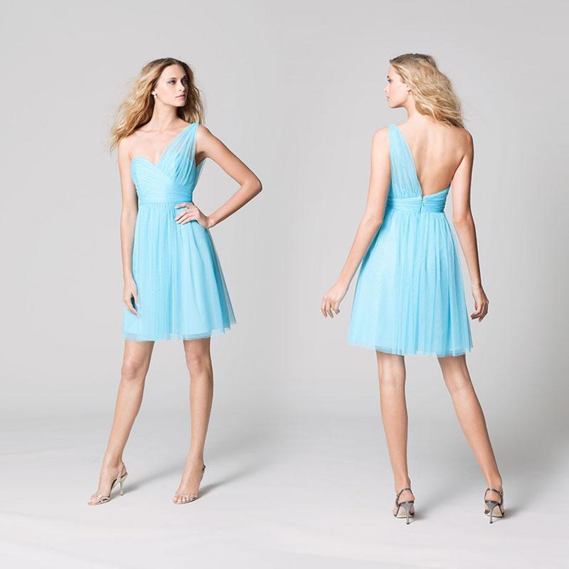 Light sky blue chiffon bridesmaids dresses 2015 a line one for Light blue beach wedding dress