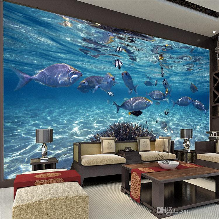 Undersea world custom large size photo wallpaper 3d mural for Cheap wall mural wallpaper