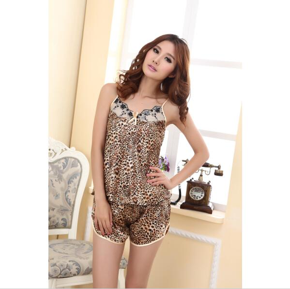 Best Luxury Womens New Imitated Silk Nightwear Sexy Leopard Shirts ...