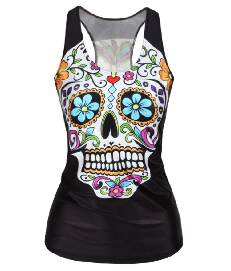 Sexy Cool Punk Girl Digital Print Floral Sugar Skull Skeleton Devil Queen Slim Tank Tops Adventure Time Camisole Sleeveless T shirt 3D Vest