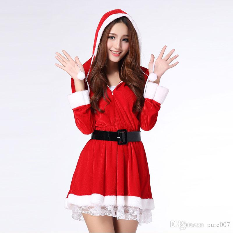 Christmas Ribbon Santa Costume Ladies Christmas Clothes Adult ...