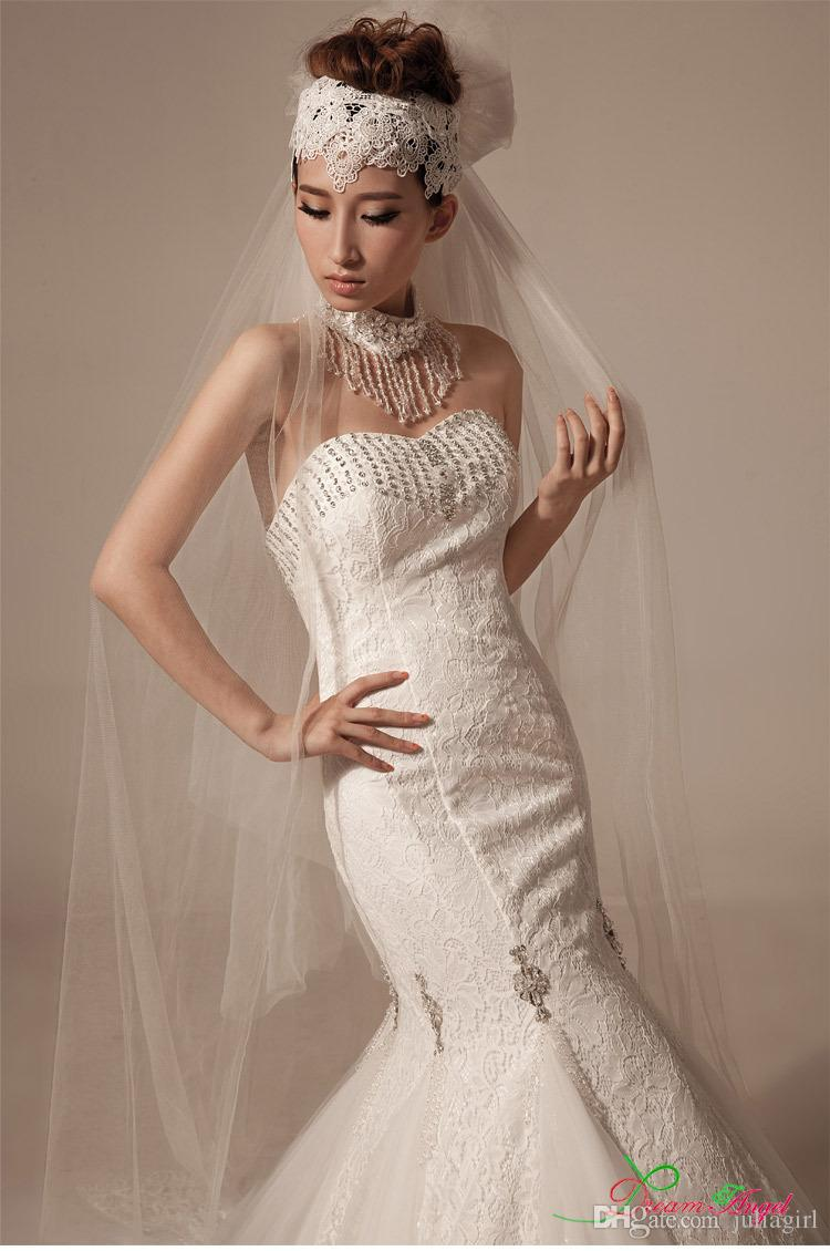 Sexy strapless wedding dress 2015 lace mermaid wedding for Jewelry for halter wedding dress
