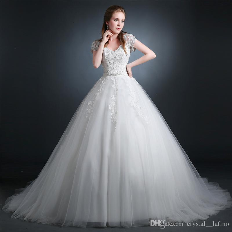 Modern Ball Gown Wedding Dresses V Neck Lace Up Unique Ball Gowns Tulle Fabric White Wedding