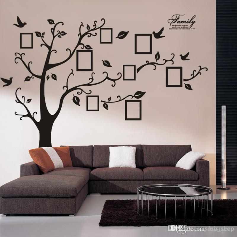 adesivos large size black family photo frames tree wall stickers diy home decoration wall decals modern