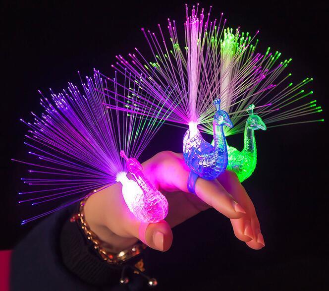 Novelty Led Flash Rave Toys Light Up Peacock Rings Toys
