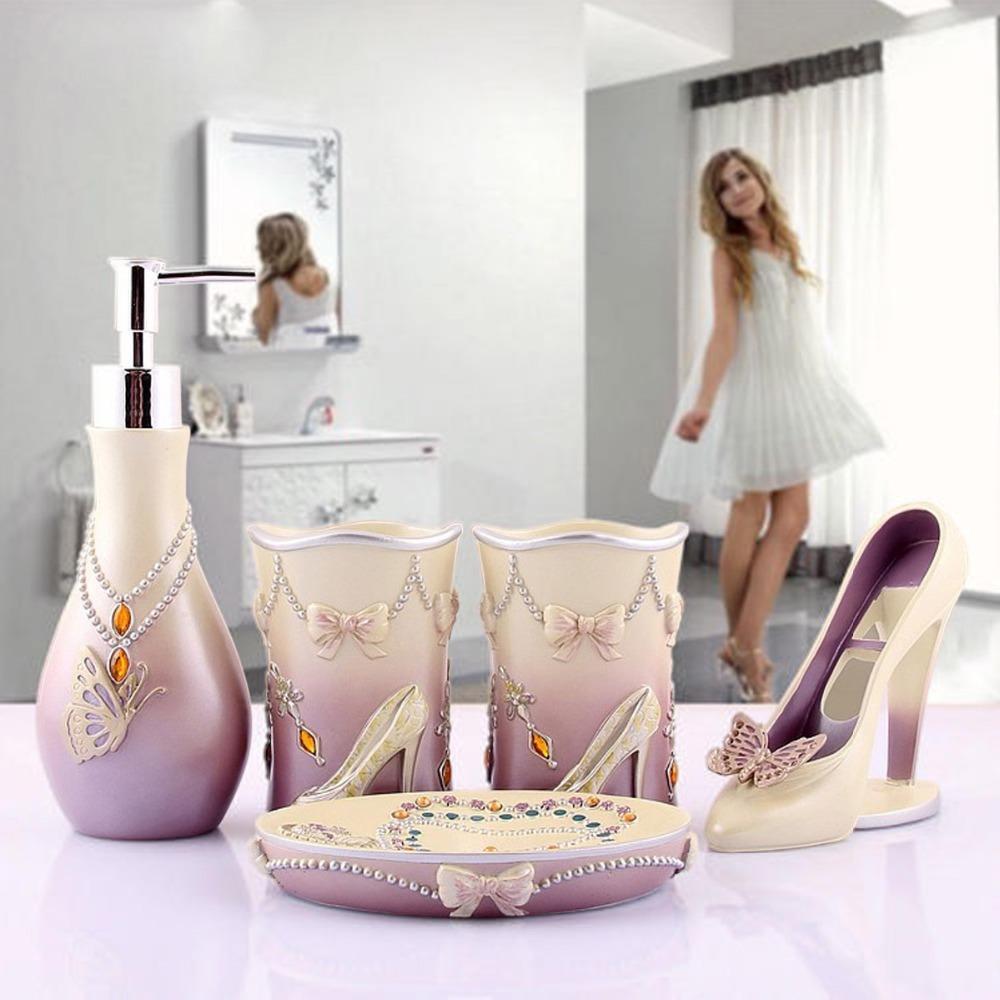 Purple Bathroom Accessories Set 2017 Novelty High Heels Bathroom Accessories Set Modern Lady Sets