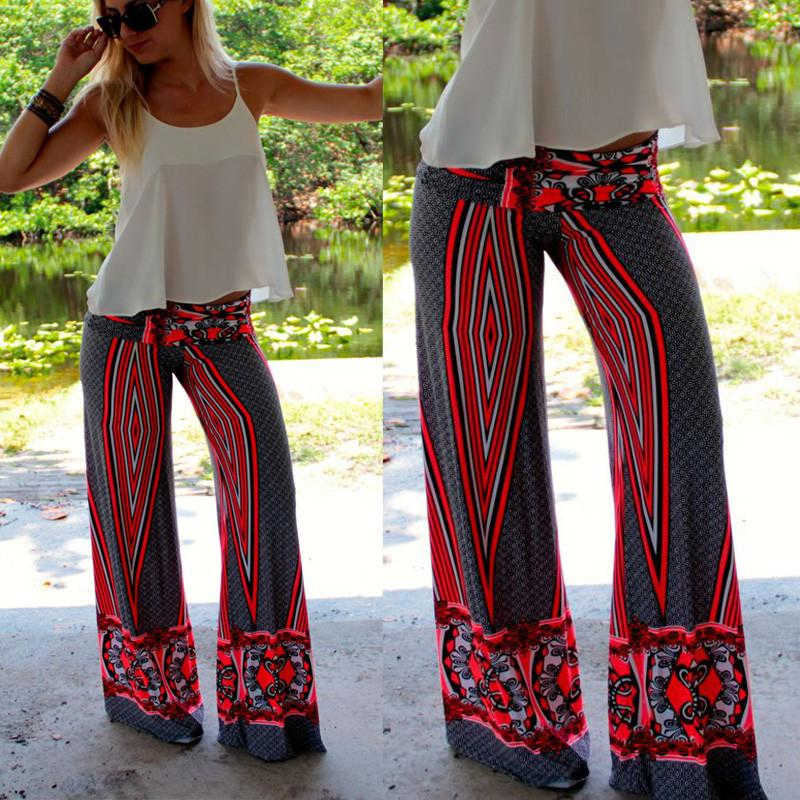 Mode Femmes Floral Printed Casual pantalon large jambe long stretch Bohemian vra