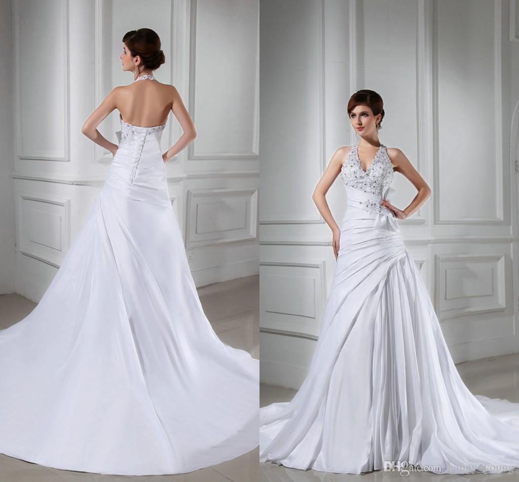 Backless 2015 wedding dresses with halter lace appliques for Backless wedding dresses designer