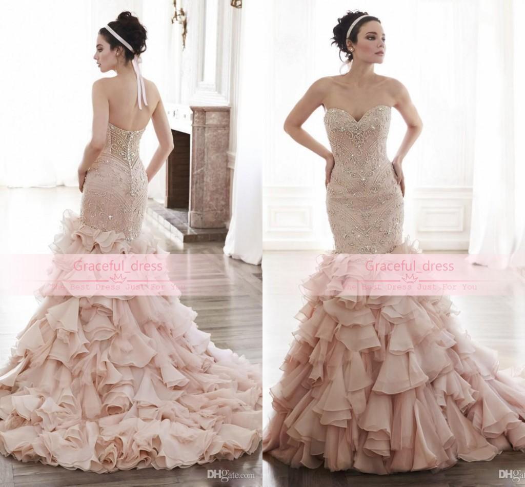 2016 New Sweetheart Mermaid Wedding Dress y Backless